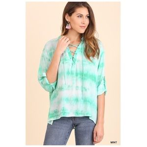Tie Dye Lace Up Top in Mint Roll Up Sleeves S/M/L